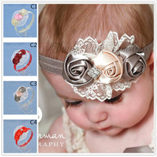 NEW Floral Headband chiffon Flower lace diamond Hairband Hair Weave Band kids  Accessories Gifts  Stock