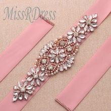 MissRDress Rhinestone Bridal Belt Rose Gold Crystal Wedding Belt Pearls Wedding  Dresses Sash For Bridal Accessories 5c00f178b935