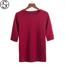 Femme Basic T Shirt Women 2017 Summer Bamboo Cotton Tees Half Sleeves Womens Clothing T-Shirts O-Neck Mujer Casual T-Shirt Tops