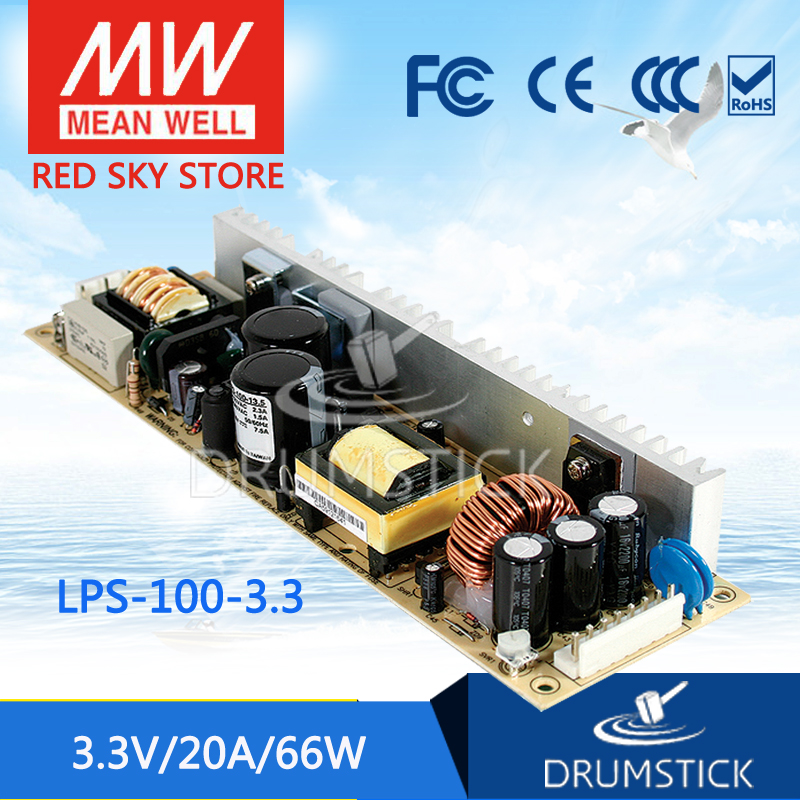hot-selling MEAN WELL LPS-100-3.3 3.3V 20A meanwell LPS-100 3.3V 66W Single Output with PFC Function<br>