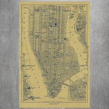 New York City Map Vintage Retro Posters And Prints Home Decoration   Canvas Painting Modern Wall Art Picture Silk Fabric