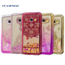 Soft TPU Phone Case For Samsung Galaxy A3 2017 A320 A320F Plating shell Case Dynamic Bling Liquid Glitter Quicksand Back Cover