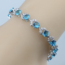 Top Quality Natural Blue Austria Crystal Women Silver Color Jewelry Overlay Link Chian Bracelet 7 inch Free Gift Box B78