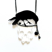Black Crow White Skull the Gothic theme Neckalce Dark elements Jewelry Alternatives Accessories(China)