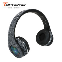 TOPROAD Glowing Bluetooth Headphone Wireless Headset LED 3D Stereo Earphone Support FM Radio Handsfree for iphone Smartphone(China)