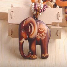 Buy CL: Elephant Necklace Hot Sale Bohemia Ethnic Style Vintage Long Wooden Sweater Chain Elephant Necklace #1770426 for $1.64 in AliExpress store