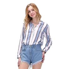 Buy Dioufond Autumn Women Shirts Long Sleeve Striped Casual Shirt Ladies Cotton Tops V-Neck Women Fashion Blouses Femme Chemise 2017 for $8.91 in AliExpress store