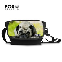 Brand Cool Women Men Messenger Bags Canvas Casual Bag Pug Dog Cat Print Crossbody Bags for Children Kids Boys Girls Travel Bolso