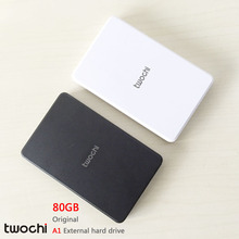 Free shipping 2016 New Style 2.5 inch Twochi A1 USB2.0 HDD 80GB Slim External hard drive Portable Storage disk wholesale Price