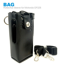 Two Way Radio Leather Protective Sleeve Shoulder Bag Hard Holster Case for Motorola GP328 GP340 GP380 GP3188 EP450 Walkie Talkie