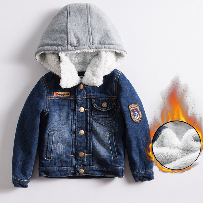 2017 New Children's Denim Jacket Cotton Clothing Fashion Outerwear Russia Winter Baby Boy Jacket Warm Children Clothing zl907