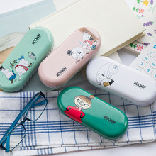 Q24 Kawaii Moomin Cartoon Tin Glasses Case Desktop Storage Box School Office Supply Gift Student Stationery