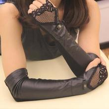 Black lace lady girl Sexy Disco dance costume party lace fingerless long PU gloves arm warmer free shipping(China)