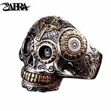 ZABRA Luxury Solid 925 Sterling Silver Skull Ring Men Vintage Punk Rock Cross Gold Big Heavy Mens Gothic Rings Bague Homme Biker(China)
