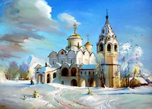 Diamond Painting Cross Stitch Rhinestone Mosaic Picture Home Decor Diamond Embroidery Winter Snow Russian Church BK-3070(China)