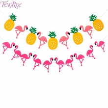 FENGRISE Green Purple Pineapple Flamingo Coconut Leave Bunting Banner Wedding Decoration Engagement Birthday Party Supplies