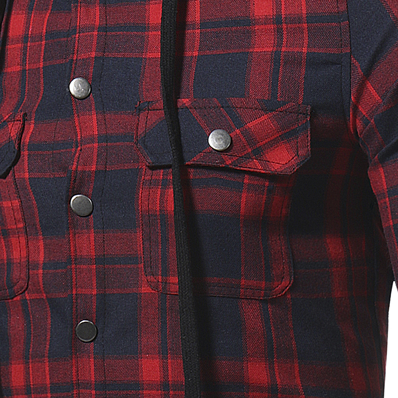 Plaid Shirt 2018 Autumn Fashion Shirts Men Casual Brand Clothing Men Shirt Long Sleeve Casual Lattice Hooded Camisa Social XXXL 14