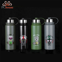 PChouse Fashion 304 Stainless Steel Water Bottle for Men Outdoor Sports Leak Proof Water Bottle Punk Skull Bottle Creative Gift(China)