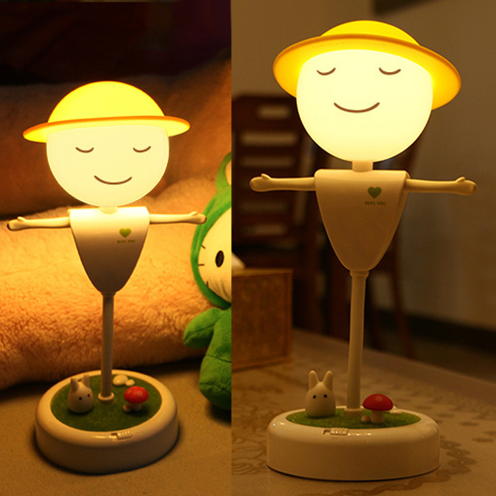 Cute Scarecrow LED Night Light Touch Induction Bedside USB Interface Lamp Table Desk Lamp Adjustable Warm White Light(China)