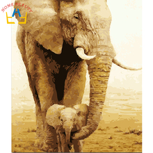 40x50cm framed digital oil painting by numbers diy home decoration paint on canvas unique gift craft picture elephant Y040(China)
