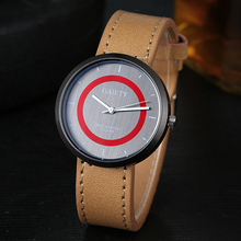 Gaiety Simple Sports Men Women Watches Quartz Wholesale Red Inner Circle PU Leather Classy Clock Damske Hodinky(China)