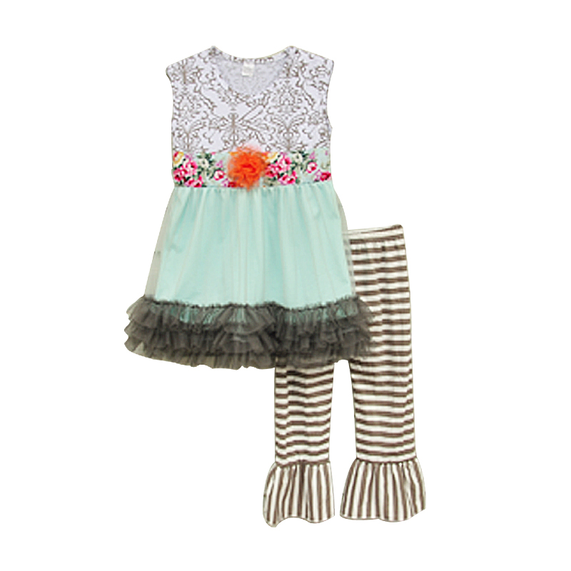 2016 Factory Selling Girls Summer Clothes Sleeveless Top Floral Waistband Chiffon Hem Striped Ruffle Pants S041<br><br>Aliexpress
