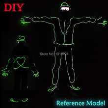 DIY Creative Neon Led Bulbs Gangnam Style with Apple Suit EL Wire Cold Light Heart-Shape Glowing Costume for Rave Party Decor(China)