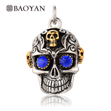 Unique Design Halloween Charms Stainless Steel Skull Punk Pendant For Women And Man Hallowmas Party Gift Fashion Jewelry   N5