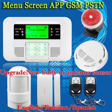 Free Shipping!Wireless GSM pstn Alarm system Home security Alarm systems LCD Keyboard Sensor alarm PIR Door Sensor Auto Dialling