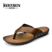 Buy DEKESEN Luxury Brand 2018 New Men's Flip Flops Genuine Leather Slippers Summer Fashion Beach Sandals Shoes Men Casual shoes for $32.56 in AliExpress store