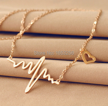Silver/ Gold/ Rose Gold Choose Fashion Cute Heart Beat Pendant Necklace Stainless Steel with Chain Made