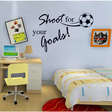 Shoot For Your Goal Letter Football Sport Wall Decals Wallpaper Kids Wall Stickers Children Room Decor Size 45*60CM