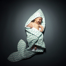 Mermaid Blankets Bathrobe Newborn Baby Blanket Sleeping Sharks Hoode Swaddle Blanket Bedding Towel Hold Swaddle Wraps Cotton