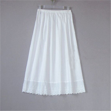 Women 100% Cotton White Solid Maxi Embroidery Half Slip With Lace Plus Size Long 55-80cm Sexy Dress Underskirt #S015(China)