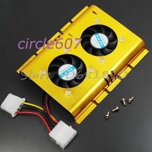 2 Cooling Fan Cooler For 3.5 Inch PC Hard Disk Drive HDD #R179T#Drop Shipping