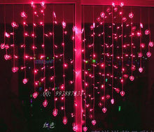 Valentie's Day Unusual Indoor Fairy Lights 2M x 1.5M 128PCS 34hearts 16W Heart Love Shape LED wedding String Lights x 60pcs(China)