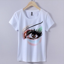 2017 Wholesale High Quality women t-shirt Print Cotton tshirt Beading t shirt China Plus Size Short Sleeve Tees Basic Top Tees