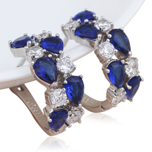 Wedding Clip Earrings Crystal Silver Stamped Super supplier Blue Zircon Health Nickel & Lead free fashion Jewelry JES924A
