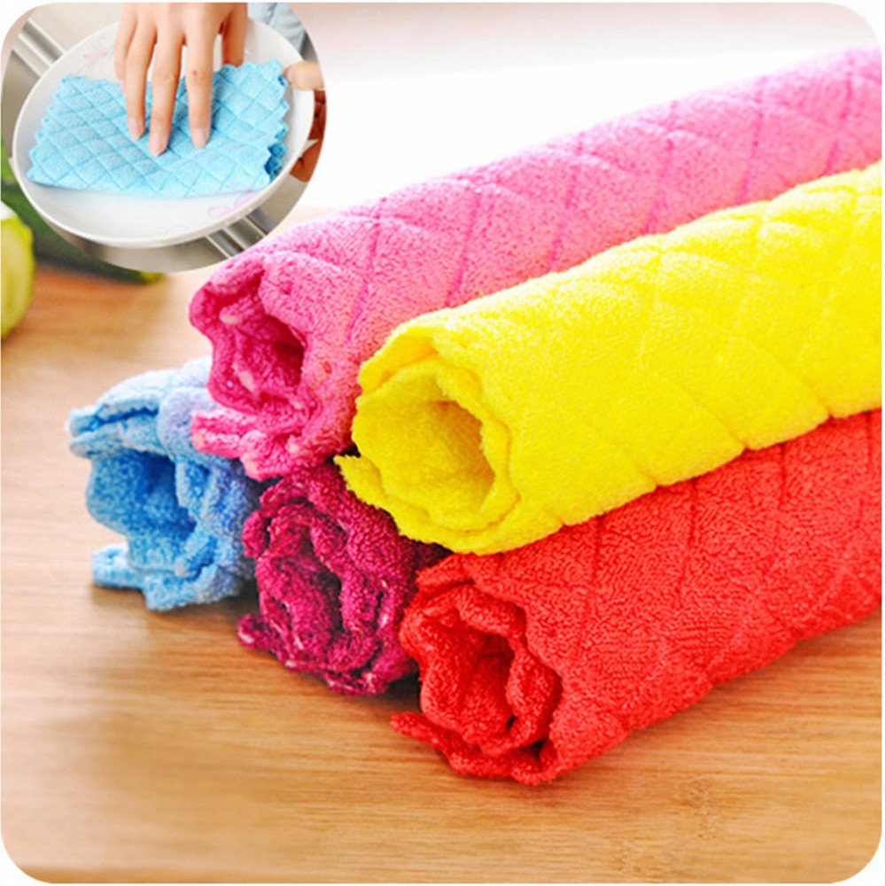 Wiping Rags Bamboo Fiber Cleaning Washing Towel Dish Cloth Kitchen