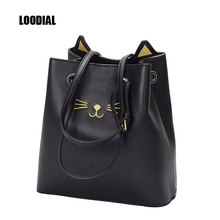Loodial Luxury Handbags Women Bags Designer Sailor Moon Cat Shoulder Bags Women  Hello Kitty Tote Bucket Bags Female