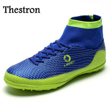 Thestron Cheap Soccer Shoes Kids Big Size Mens Football Shoes Non-Slip High Ankle Football Boots Blue/Green Sock Boots Football