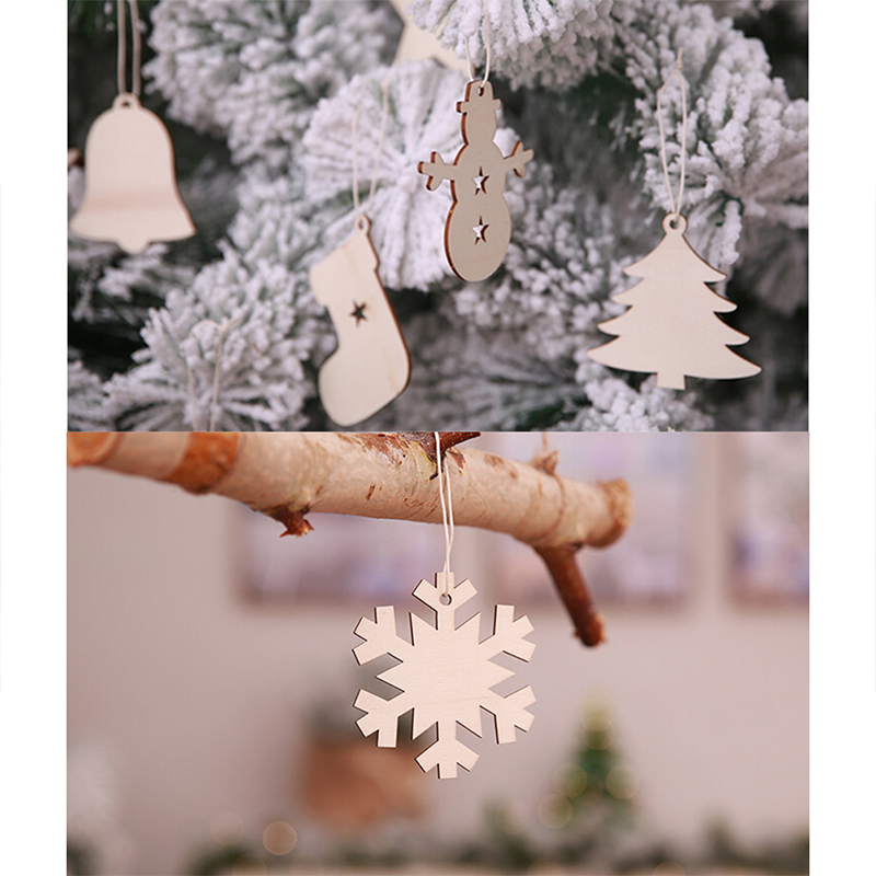 10pcs Christmas Santa Snowflake Deer Bell Wooden Gift Tags Craft Tree Decoration