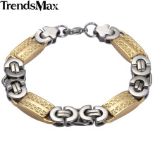 Buy Trendsmax 11mm Mens Chain Boys Bracelet Silver Tone Flat Byzantine Link Stainless Steel Bracelet KB407 for $4.21 in AliExpress store