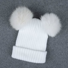 Women Knitted Beanie Hat Winter Warm Double Pom Pom Ball Bobble Elastic Faux Fur Cap 209-512(China)