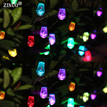 ZINUO Crystal Solar LED String Light 12 Bulb 7Color with USB Waterproof Globe Ball Xmas Light Waterdrop Wedding Party Decoration