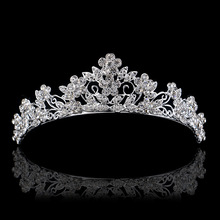 Korean bride crown headdress alloy rhinestone wedding hair accessories factory direct high-end jewelry
