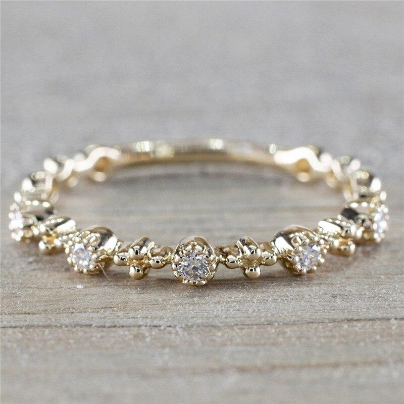Fashion Women Gold Color Rhinestone Crystal Rings Wedding Engagement Ring Female Jewelry bague femme C25
