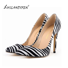 Classic sexy woman pointed heels pumps pump zebra Spring brand wedding large size 35-42 302-1Zebra