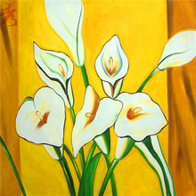 4 Size Abstract White Flowers Canvas Painting Home Children's Room Wall Art Unframed Photo Decor Simple Yellow Modular Picture(China)