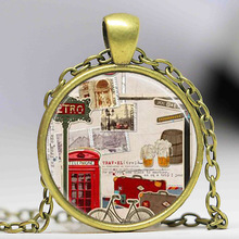 Travel pendant necklace Red Phone Booth London England United Kingdom UK art Necklace women men jewelry chain necklaces charm